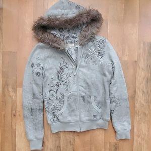 Womans Miss Me plush zip jacket